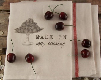 Kitchen Towel Made in ma cuisine, strawberries, tea towels, kitchen cloth, kitchen towels, kitchen retro,