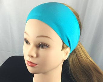 Aqua Yoga Running Headband, Workout Headband,Fitness Wide Headband, Boho Aqua Headband, Fitness Headband,Head Wrap, Headband, Workout