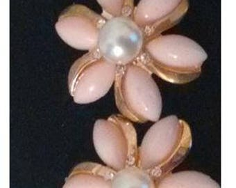 Beautiful Gold plated baby pink flower & faux pearl earrings  with  rhinestones ...Bespoke item