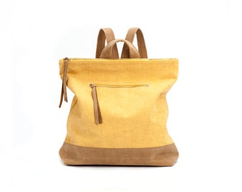 Mustard Yellow Backpack / Vegan Leather Tote Bag / Oversize Leather Purse / Unisex Laptop Bag / School Bag / Handbag / Shoulder Bag - Nobo