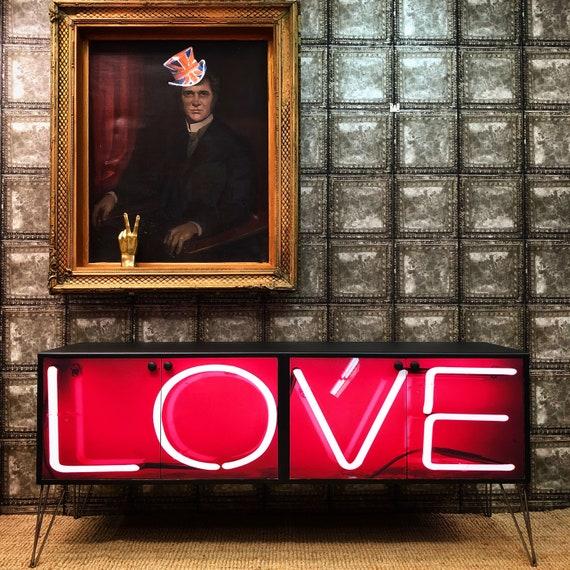 Vintage Gplan sideboard Love print