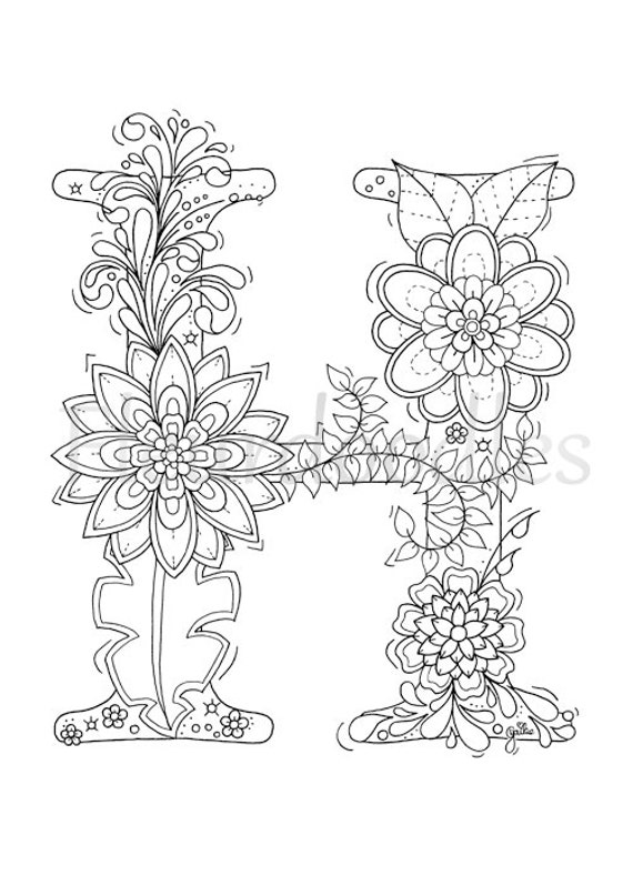 Adult Coloring Page Floral Letters Alphabet H Hand Letter H Coloring Pages