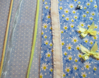 crisp blue & yellow curtain kit with enough fabric left for cushions or bedspread etc
