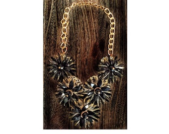 Floral Black/Beige Statement Bib Necklace