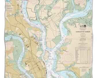 SC: Charleston, SC Nautical Chart Fleece Throw Blanket, Map Blanket