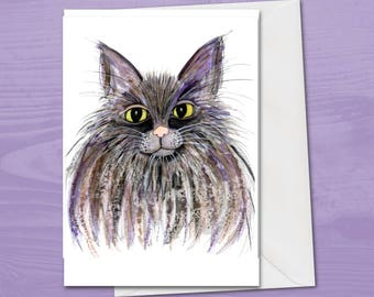 Cat greetings card, blank card, cat card, cat birthday card, cat lover card, cat gift, cute blank cards, black cat, fluffy cat, kitty gift