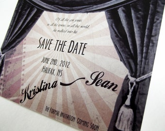 Vintage Movie Inspired Wedding Save the Date Card (also available as a print yourself digital file)