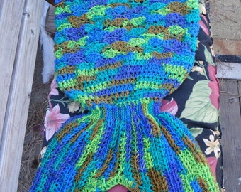 ON SALE Child Size Mermaid Tail Crocheted Blanket in Peacock colors - Ready to Ship