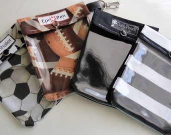 Epi Pen Case, Ouch Pouch or Inhaler Holder Small 4x5 Clear Front with Optional Clip and Label. Choose (1) Football Soccer Black or Stripe
