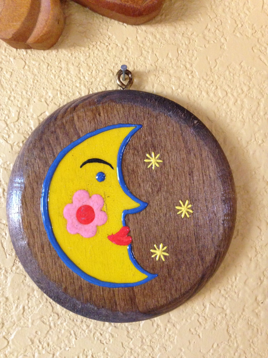 Vintage Moon With Stars Raised Relief Hand Painted Round