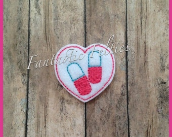 Heart Pill Doctor Feltie | Felt applique | Embroidered Felt | UNCUT
