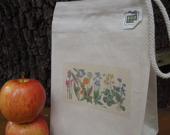 Recycled cotton lunch bag  - Wildflowers