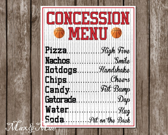 sports concession menu basketball party decor basketball