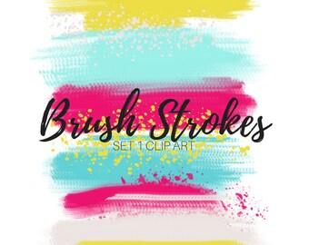 Brush stroke clip art - Paint splatter clip art - Digital brush strokes - Paint clip art - Commercial use