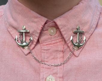 Silver Anchor Collar Clip Collar Chain