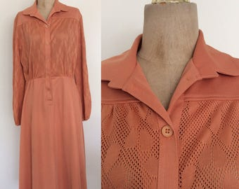 1970's Tangerine Orange Polyester Shirtwaist Dress w/ Perforated Floral Bust & Pockets Size Medium Large XL by Maeberry Vintage