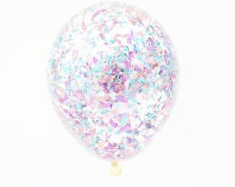 Pink + Purple + Blue + Silver metallic Confetti Balloon | 11 inch, 16 inch or 18 inch confetti balloon
