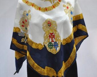 Vintage PRINTED SILK scarf ...(515)