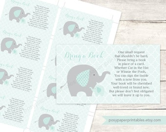 bring a book insert instead of a card baby shower printable elephants sage green grey cute baby digital shower - INSTANT DOWNLOAD
