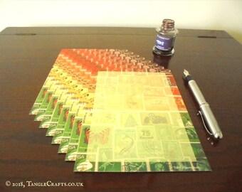 Orange Green Writing Paper Set | Postage Stamp Print Letter Set | Abstract Landscape Letter Writing Set | Penpal Gift Set for Letter Writer
