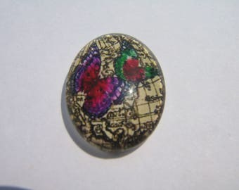 Glass cabochon oval 25 X 18 mm butterfly image with pink and purple