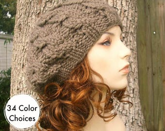 Chunky Knit Hat Womens Hat Cable Beret Hat Brown Taupe Knit Hat Brown Hat Taupe Hat Brown Beret Taupe Beret Brown Beanie - 34 Color Choices