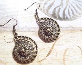 Antiqued Brass Nautilus Spiral Shell Pierced Dangle Earrings, Nautical Earrings, Nautical Jewelry, Beach Jewelry, Sea Shell Earrings