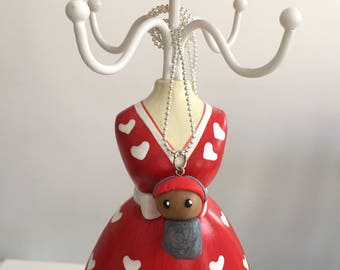 """Doll """"chibi"""" red and grey pendant"""