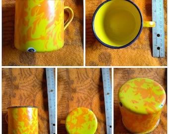Sm. Yellow and Orange enamel cup