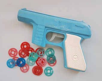 Vintage USSR Disk Gun Toy with 20 disks 1980's