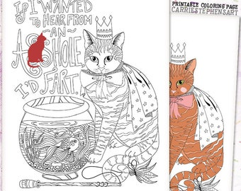 Asshole Cat Coloring Page Funny Printable Instant Download Adult Colouring Book Swear Word Kitty Quote Animal Lover Humor