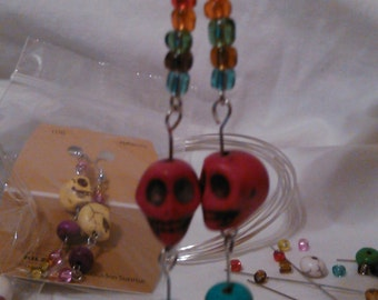 Red Skull Earrings -- Colorful and fun with just the right amount of Bling!