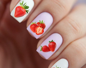 Nail Art Stickers Water Slide Decals Labels Tattoos Trendy Fashion Popular Style Strawberry Fruit Santa Marry Christmas New Year 2017 2018