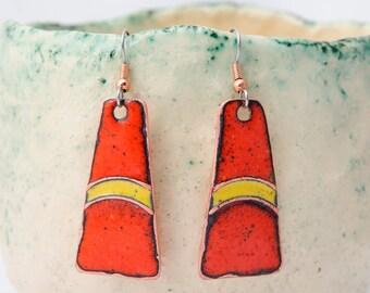 Yellow Red Enamel Earrings Modern Enamel Jewelry Copper enamel jewelry Free shipping