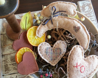 Bunnies and Hearts bowl fillers, Easter, primitive, country decor, fabric bunny, fabric heart