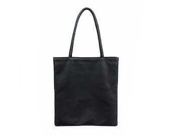 Black Leather Tote | Bag | Carryall | Laptop Bag