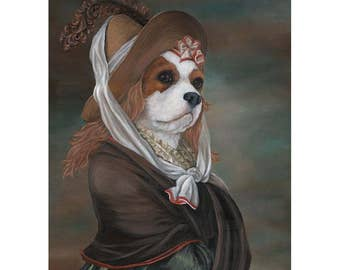 Cavalier King Charles Spaniel, Prints, Cavalier in Dress, King Charles, Cavaliers
