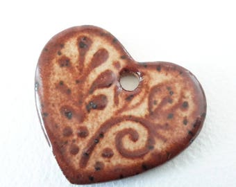 Rustic Brown Heart Pendant // Gift Tag // Heart Bead // Heart Pendant with Leaves // Brown Focal  Bead // SmallOrnament // Valentine bead