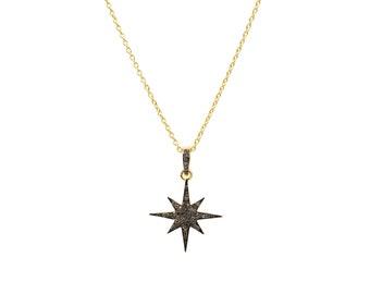 Diamond Star Burst Necklace Gold