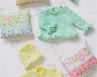 Vintage Knitting Pattern Knit Baby Girl Frilly Peplum Cardigan Sweaters and Hat PDF Instant Digital Download Preemie to 18 Months DK 8 Ply