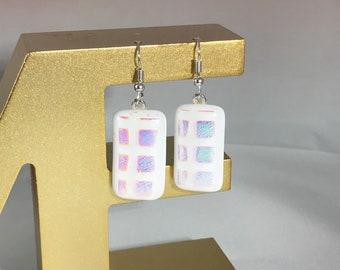 Unique fused glass dangle earings