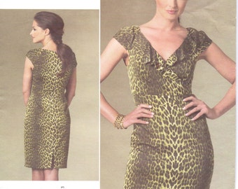 Kay Unger Womens Fitted Wiggle Dress OOP Vogue Sewing Pattern V1206 Size 14 16 18 20 Bust 36 38 40 42 Uncut Vogue American Designer