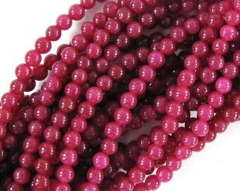 """4mm ruby red jade round beads 15"""" strand 19185"""