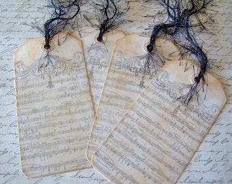 Vintage Sheet Music Themed Gift Tags - Set of 4 Tags