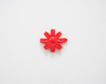 Vintage Plastic Red Flower Hair Barrette
