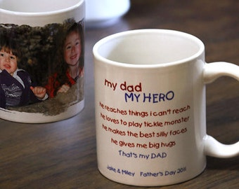 """Personalized """"Hero Dad"""" Mug : Your Photo and Text Make a Perfect Gift for Dads and Grandpas"""