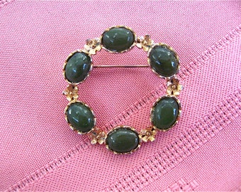 Vintage Green Jade Circle Pin
