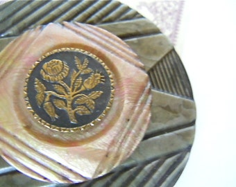 Victorian Steel Cut Button Brooch Collectible Jewelry