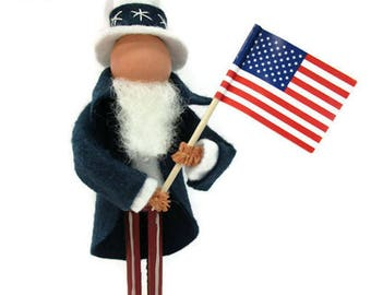 Uncle Sam Ornament, Clothespin, Wool Felt, Patriotic Ornament, Peg Doll, Independence Day, Memorial Day, Christmas Ornament Exchange