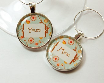 Yours Mine Charms, Wine Charms, barware, table setting, blue, orange, brown, yours, mine, silver plate, cocktail hour (3207)